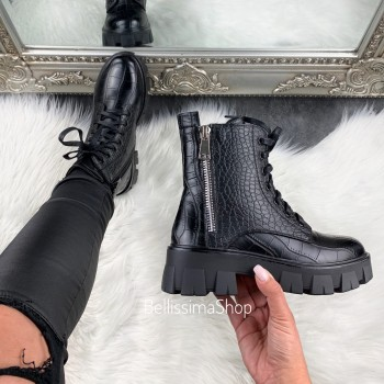 BOTTINES MELIA BLACK CROCO ZIP