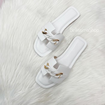 CLAQUETTES MAILLONS BLANC