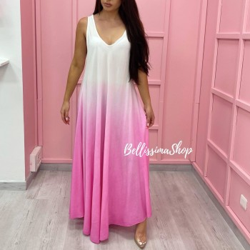 ROBE LONGUE TIE AND DYE ROSE